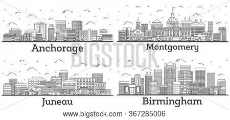 Outline Birmingham and Montgomery Alabama, Juneau and Anchorage Alaska City Skylines Set with Modern Buildings Isolated on White. USA Cityscapes with Landmarks.