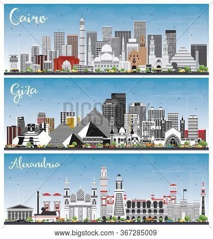 Giza, Alexandria and Cairo Egypt City Skylines Set with Gray Buildings and Blue Sky. Cityscapes with Landmarks.