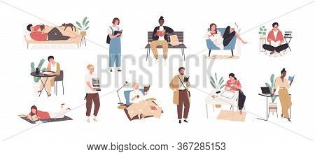 Set Of People Literature Fans With Books Vector Flat Illustration. Collection Of Reading Man And Wom