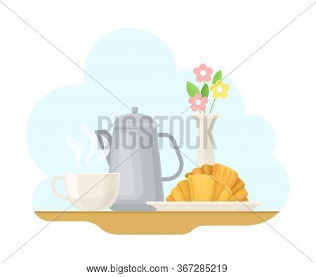French Food With Crunchy Croissant And Teapot With Hot Drink Vector Illustration