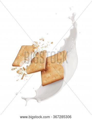 Broken Crackers With Milk Splash Isolated On White