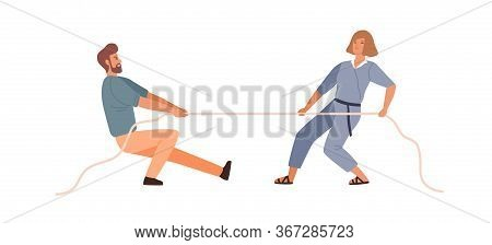 Man And Woman Competitors Tug Of War Contest Vector Flat Illustration. Colorful Male And Female Riva