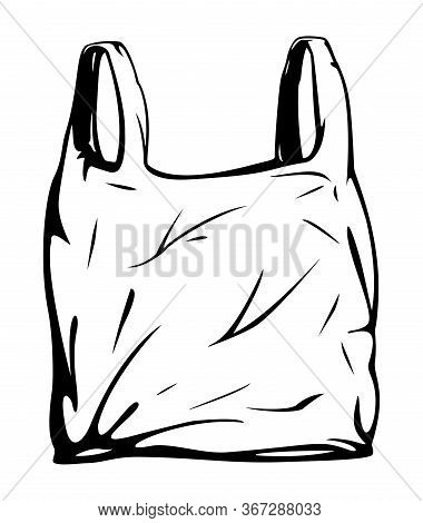 One Empty Plastic Disposable Bag With Handles Isolated Illustration, Black And White Disposable Bag,