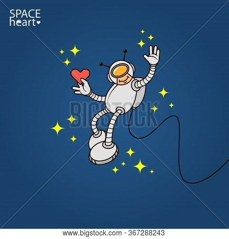 Colorful Simple Vector Flat Art Illustration Of Humanoid Astronaut With Heart In Hand