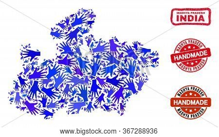 Vector Handmade Collage Of Madhya Pradesh State Map And Rubber Watermarks. Mosaic Madhya Pradesh Sta