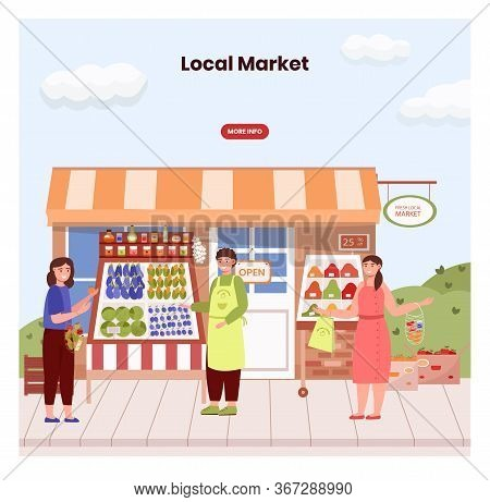 Farmer In Local Market Offers Fresh Vegetables And Grocery In Street Food Stall. Farm Marketplace An