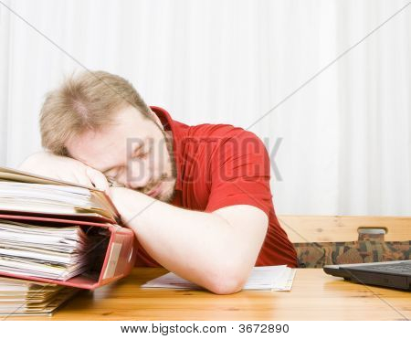Casual Businessman Falling Asleep