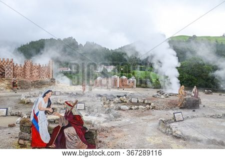Furnas, Sao Miguel, Azores, Portugal - Jan 13, 2020: Volcanic Hot Springs In Portuguese Furnas. Geot