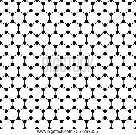 Graphene Seamless Pattern. Carbon Lattice. Black Graphene On White Background. Abstract Background.
