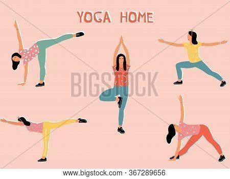 Vector Set With Woman Doing Yoga At Home. Illustration With Mount Pose, Tadasana; Virabhadasana, War