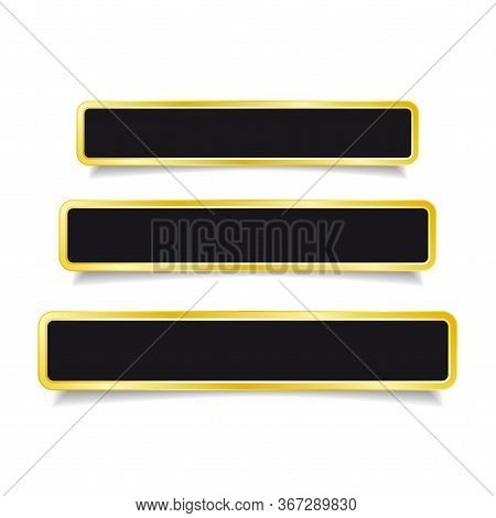 Golden Banner/ Button Set On White Background. Vector Illustration