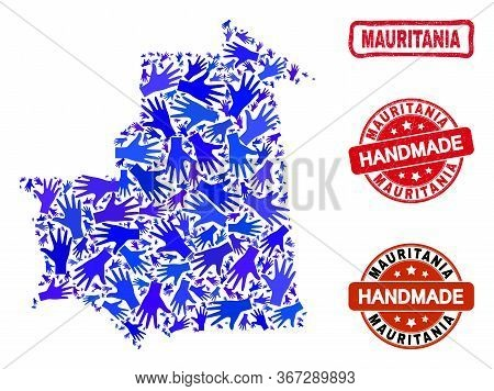 Vector Handmade Composition Of Mauritania Map And Corroded Stamps. Mosaic Mauritania Map Is Construc