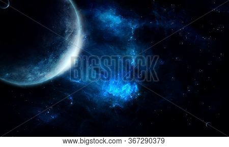 Abstract Space Illustration, 3d Image, 3d Rendering, Background Image, A Stone Planet In Space Among