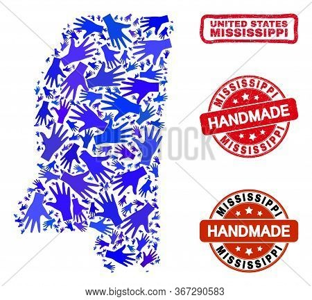 Vector Handmade Composition Of Mississippi State Map And Textured Watermarks. Mosaic Mississippi Sta