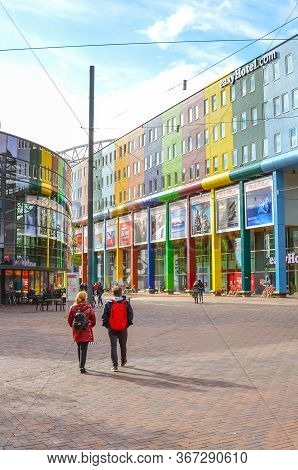 Amsterdam, Netherlands - April 27, 2019: Business District In The Dutch Capital. Commercial Building