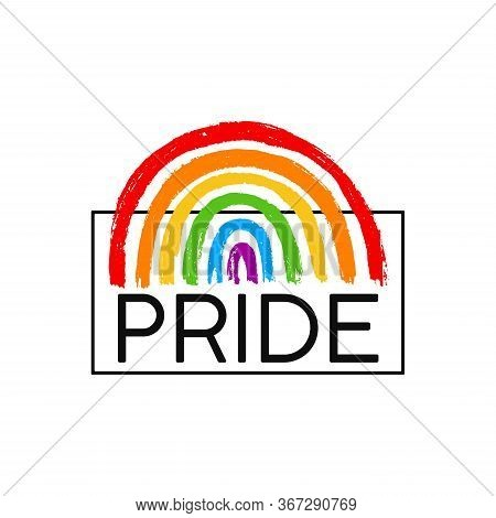 Pride Template Poster. Lgbtq Or Lgbt Background With Rainbow. Vector Hand Draw Icon Design. Concept