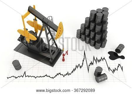 Oil Pump And Oil Barrels With Chart. Black Oil Pump With Yellow Color. Concept Of Oil Production And