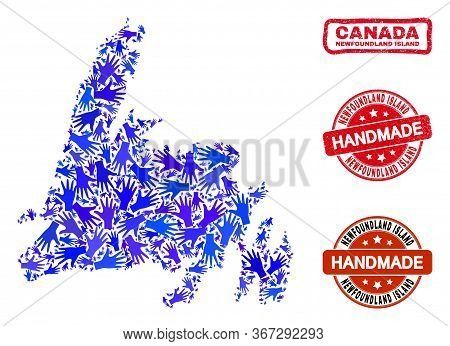 Vector Handmade Composition Of Newfoundland Island Map And Dirty Stamp Seals. Mosaic Newfoundland Is