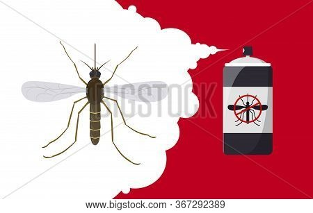 Mosquito Repellent Banner Concept. Insect Repellent Aerosol. Pest, Insect And Bug Control Spray Bott
