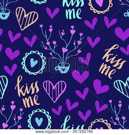 Seamless Pattern For Valentines Day Design. Hand Drawn Love And Romance Theme Background With Hearts