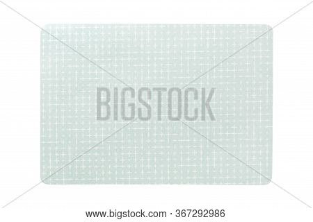 Top View Of Isolated Green Placemat For Food. Empty Space For Your Design
