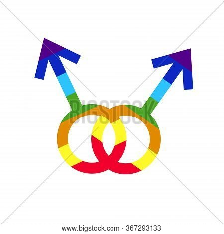 Male character combination. Gay community Lgbt vector Lgbt support, fight for gay and lesbian rights, helping hands and hearts, rainbow colors. Rainbow lgbt spectrum flag of Gay Pride Movement, homosexuality emblem. The pride flag representing LGBT pride.