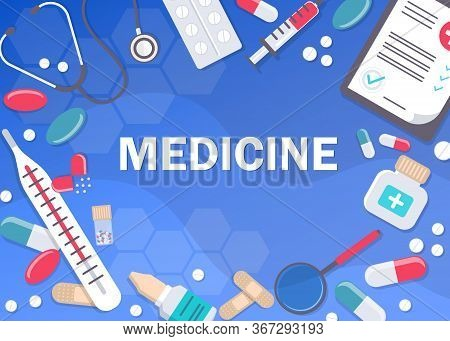 Medicine and healthcare banner, poster background with copy space. Medicine. vector medical abstract background. Medicine vector illustration. Pharmacy background, pharmacy desing, pharmacy templates. Medicine, pharmacy, hospital set of drugs with labels.