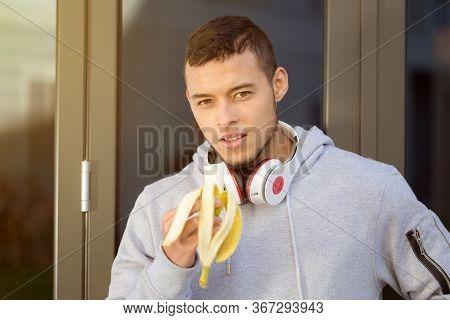 Banana Fruit Eating Young Man Runner Running Sports Training Fitness