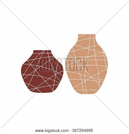 Handmade Pottery, Ceramic Vases. Pottery Hobby. Flat Vector Illustration