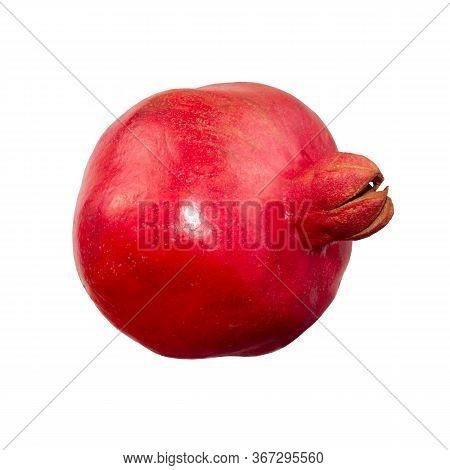 Isolated Ripe Pomegranate. One Whole Pomegranate Fruit Isolated On White Background. Fresh Raw Fruit