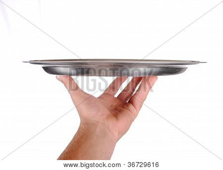 hand holds a serving tray isolated on white