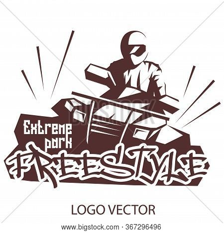 Extreme Park Logo Concept Atv Quad Bike. Freestyle On Atv Logo For Your Business Project. Vector Ill