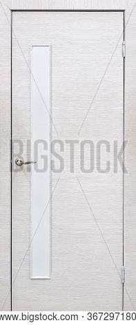 Model Of Entrance Door (interior Wooden Door) Isolated On White Backgroung