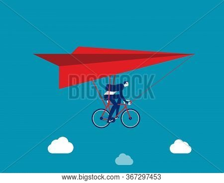Businessman Ride Hang Gliding. Flying Concept. Flat