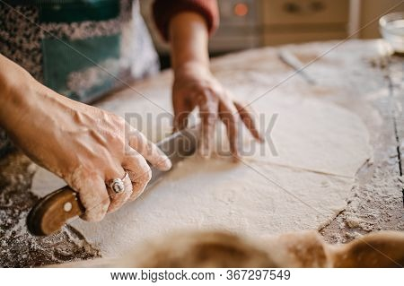 Homemade, Pastry, Hands, Wooden Table, Rolling Pin, Gluten-free, Tapioca, Tapioca Flour, Flour, Bake