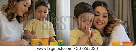 Collage Of Happy Mother With Adorable Son Sculpting Figures With Colorful Plasticine, Horizontal Ima