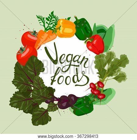 Vector Vegan Logo With Lettering Vegan Foods. Design Menu Card For Vegetarians, Logo Vegan Shop, Pos