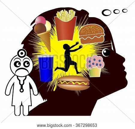 Suffering From Food Cravings. Woman Is Longing For Unhealthy Diet Like Burger, Soft Drinks, Hot Dogs