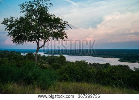 River Nile At Dusk In Near Paraa In Murchison Falls National Park, Uganda, Africa - Landscape Of The