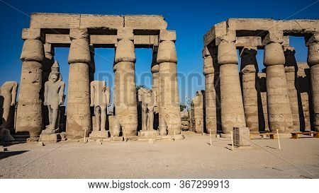 Luxor Temple In Luxor, Ancient Thebes, Egypt. Luxor Temple Is A Large Ancient Egyptian Temple Comple