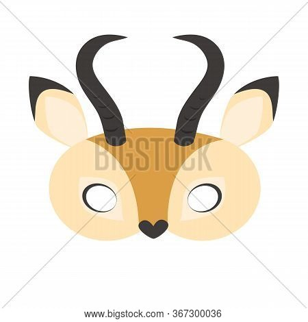 Illustration Of Carnival Mask Animals Africa Antelope. Eye Mask For Masquerade, Children's Party. Fo