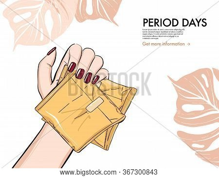 Menstruation Pads, Woman Holding Reusable Period Pads Social Media Advertising Illustration. Ultra T