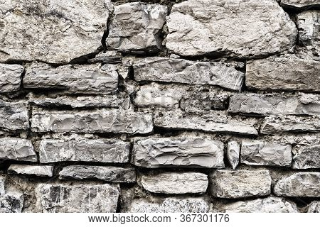 Grunge Old Grey Stone Wall Texture. Abstract Rock Pattern Concrete Surface Background. Masonry, Ston