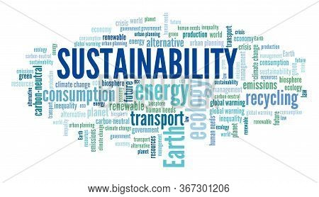 Sustainability Word Cloud. Environmental Sustainability Text Concepts.