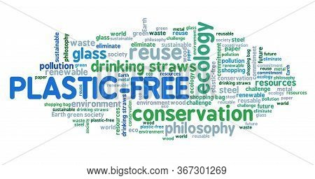 Plastic-free Life Word Cloud Collage. Plastic Free Future Philosophy.