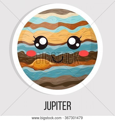 Cartoon Cute Jupiter Planet Isolated On White Background. Planet Of Solar System. Cartoon Style Illu