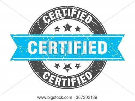 Certified Round Stamp With Turquoise Ribbon. Certified