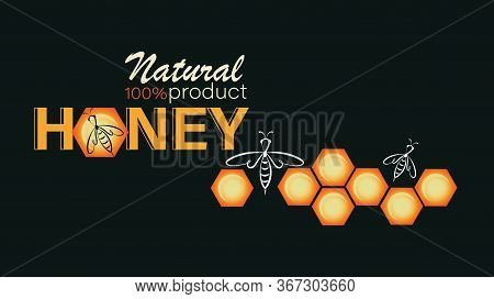 Honeycomb, Swarm Bees. Honey Background. Emblem, Label, Business Card. Linear Bee Logo, Honeycomb An