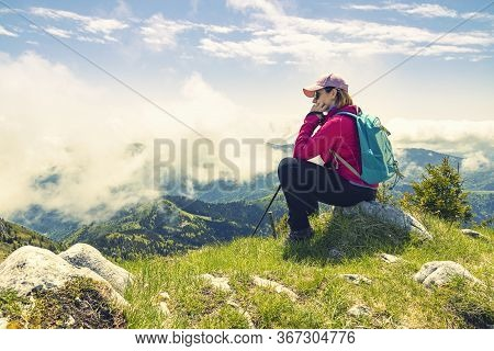 Back To Nature. Living Healthy Lifestyle. Young Woman Hiking In The Wilderness.