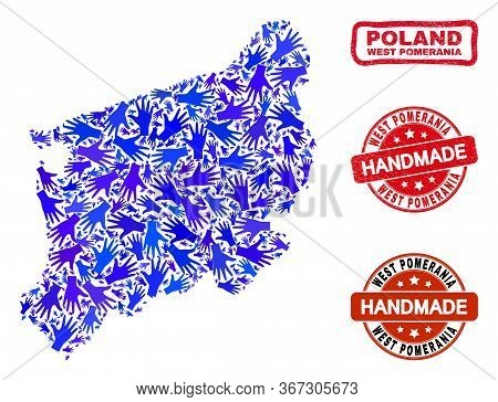 Vector Handmade Combination Of West Pomeranian Voivodeship Map And Textured Watermarks. Mosaic West